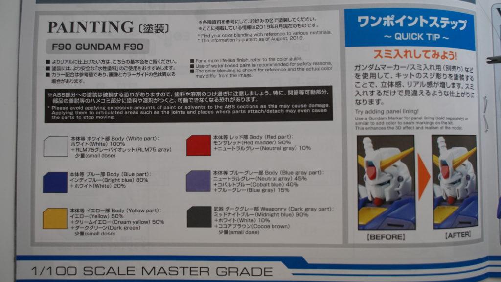 ガンダムF90の塗装ガイド